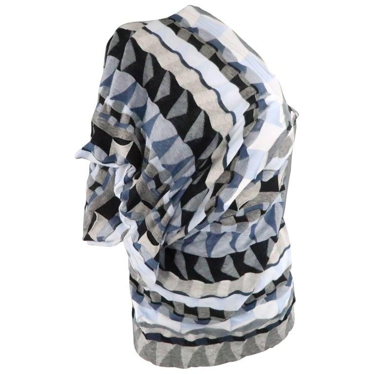 JUNYA WATANABE Size S Blue & Greay Geometric Knit Asymmetrical Drape Pullover