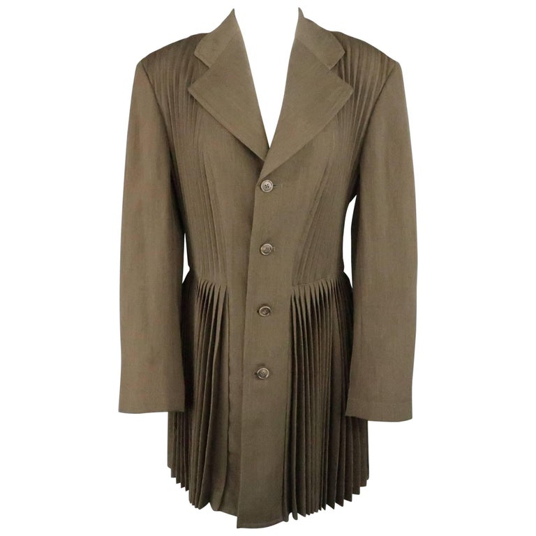 COMME des GARCONS Size M Olive Green Pleated Wool Blend Sport Coat