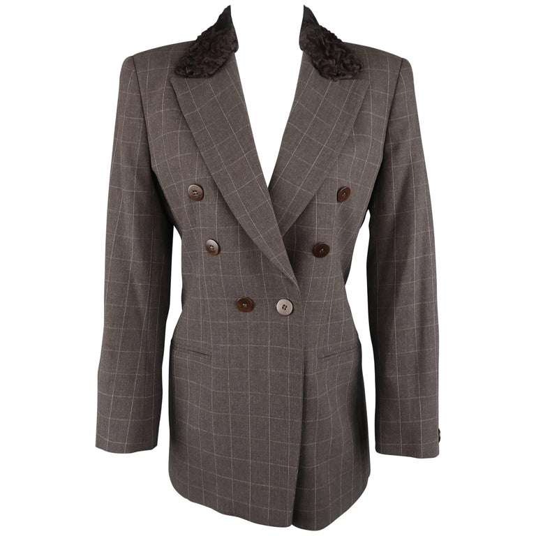 GIORGIO ARMANI Size 6 Brown Windowpane Wool Double Breasted Fur Collar Jacket