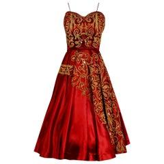 1950's Judith Lynn Couture Red Satin Metallic Embroidered Sequin Dress & Bolero