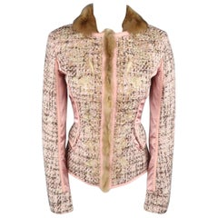 ROBERTO CAVALLI 6 Rose Pink FLoral Embroidered Tweed & Satin Fur Trim Jacket