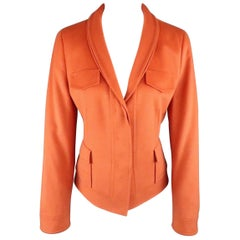AKRIS Size 8 Orange Wool / Angora Shawl Collar Hidden Placket Jacket