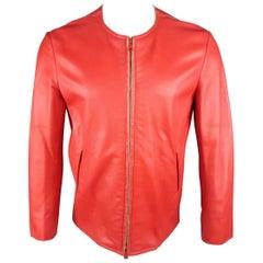 JIL SANDER Size L Red Raw Edge Leather Collarless Zip Jacket