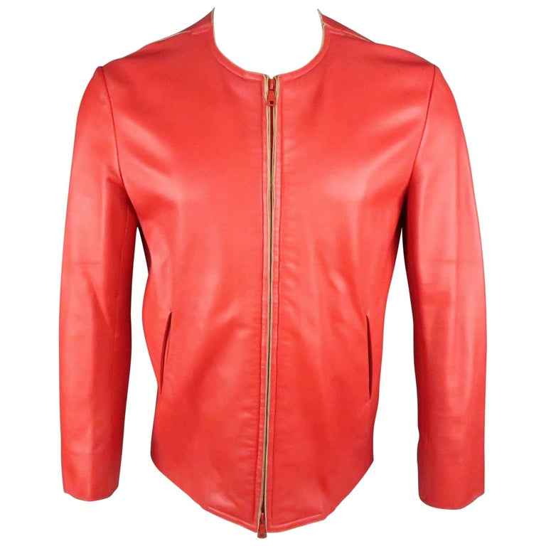 JIL SANDER Size L Red Raw Edge Leather Collarless Zip Jacket