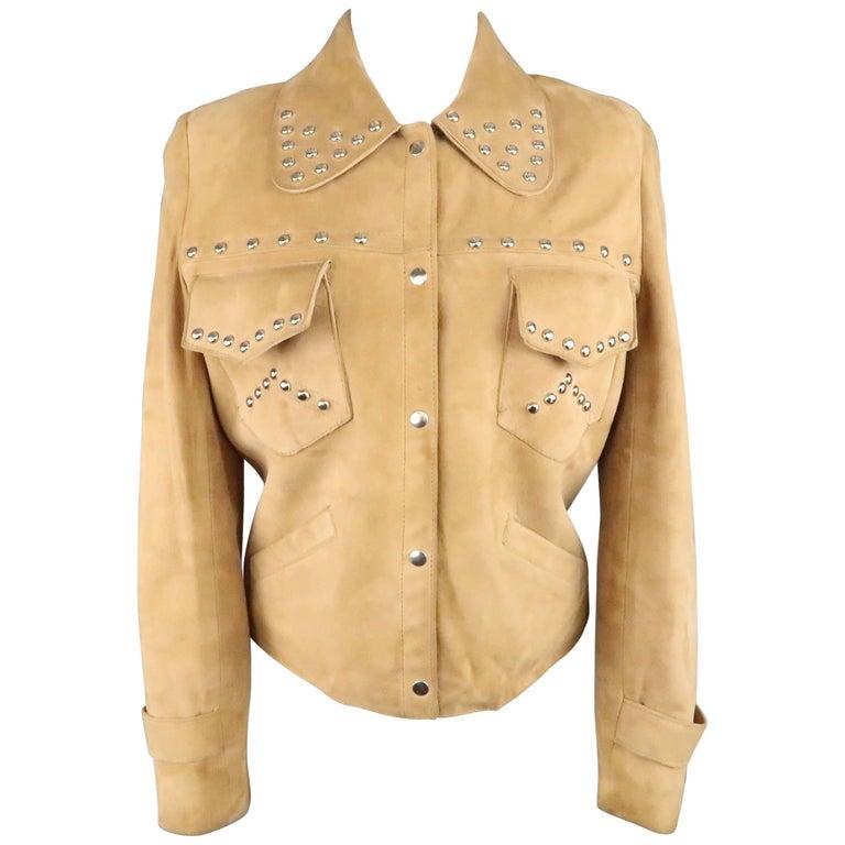 Vintage I.MAGNIN Size 12 Tan Studded Suede Cropped Snap Jacket
