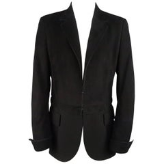 AKRIS Size 10 Black Suede & Wool Zip Off Sport Coat Jacket