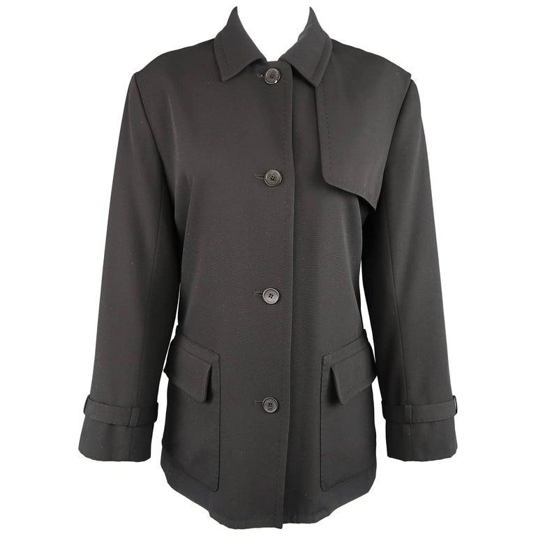 YVES SAINT LAURENT Size 4 Black Top Stitch Wool Blend Storm Flap Jacket