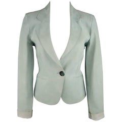 GIORGIO ARMANI Size 8 Mint Nubuck Leather Cropped Blazer Jacket