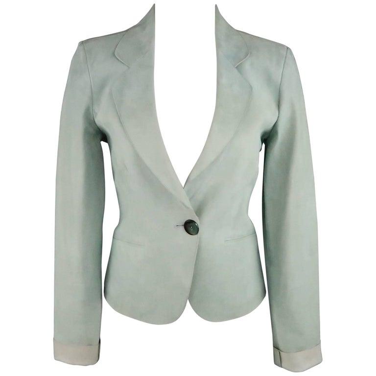 GIORGIO ARMANI Size 8 Mint Nubuck Leather Cropped Blazer Jacket