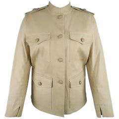 3.1 PHILLIP LIM Size 8 Beige Leather Patch Pocket Safari Jacket