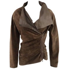 LANVIN Size 4 Brown Asymmetrical Draped Suede Zip Jacket