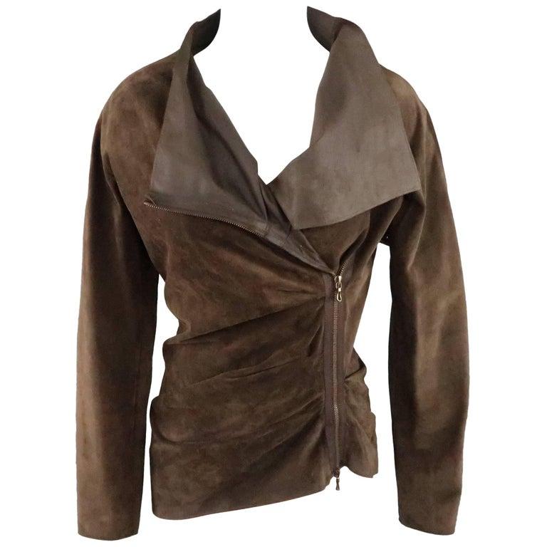 LANVIN Size 4 Brown Asymmetrical Draped Suede Zip Jacket