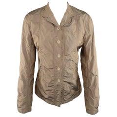 JIL SANDER Size 4 Taupe Iridescent Wrinkled Taffeta Jacket