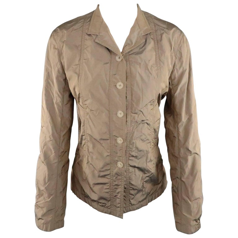 JIL SANDER Size 4 Taupe Iridescent Wrinkled Taffeta Jacket For Sale