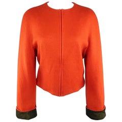 KRIZIA Size 12 Orange Mohair / Wool Collarless Zip Jacket