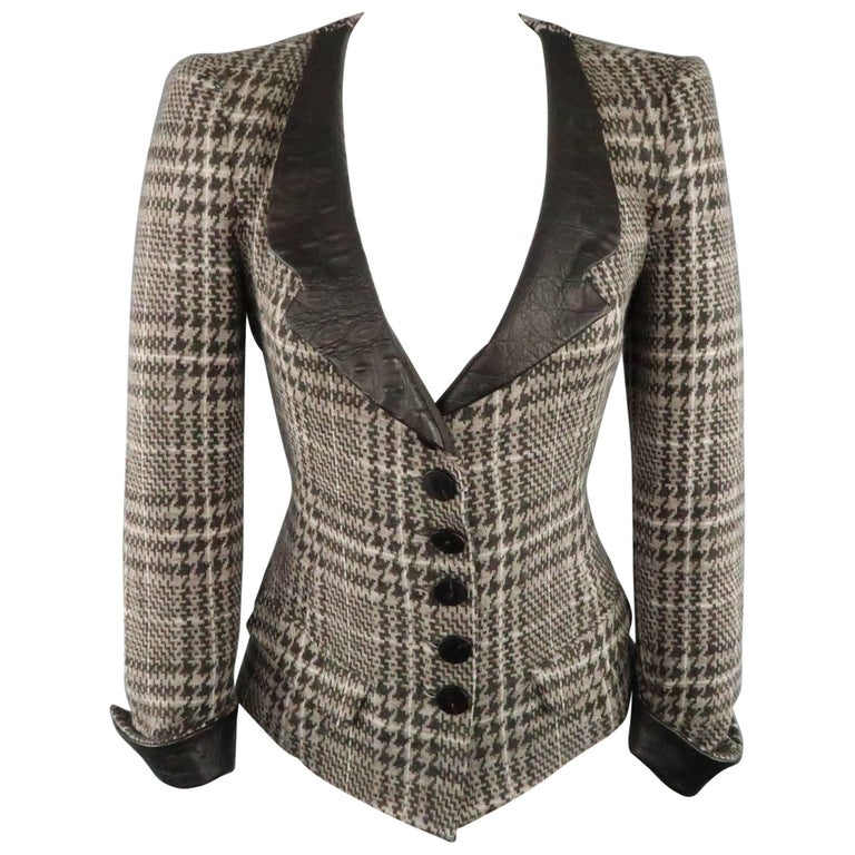 ARMANI COLLEZIONI Size 6 Taupe Houndstooth Wool Aligator Leather Collar Jacket
