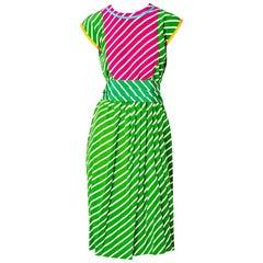 Geoffrey Beene Silk Striped Belted Day Dress