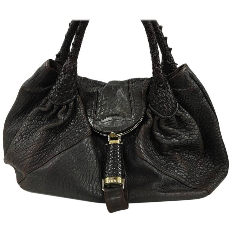 Fendi Collector Mini Fendi Flap Bag In Black Snake Leather CX5E5