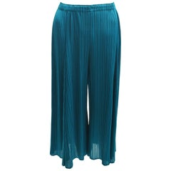 Issey Miyake PLEATS PLEASE Turquoise Blue Pleated Cropped Trousers BNWT