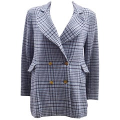 Vivienne Westwood Light Blue Check Double Breasted Mini Swing Jacket 1990's