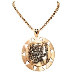 VIntage Sterling 925 Aztec Sun God Medallion Pendant Necklace- Signed Peru MML