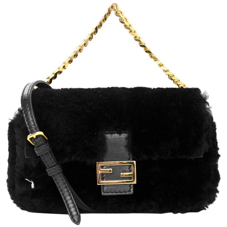 Fendi NEW Black Shearling Micro Baguette Crossbody Bag