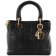 Christian Dior Vintage Lady Dior Handbag Cannage Quilt Lambskin Medium