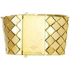 Bottega Veneta Goldtone Wide Bracelet