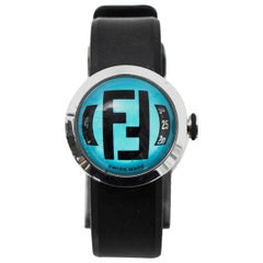 Fendi Black & Blue Bussola Bubble Watch