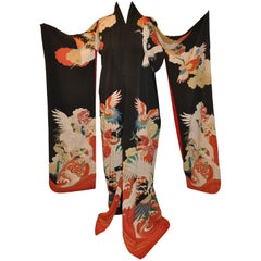 "Stunning Multi-Colors ""Cranes Among Heaven & Earth"" Black Silk Kimono"