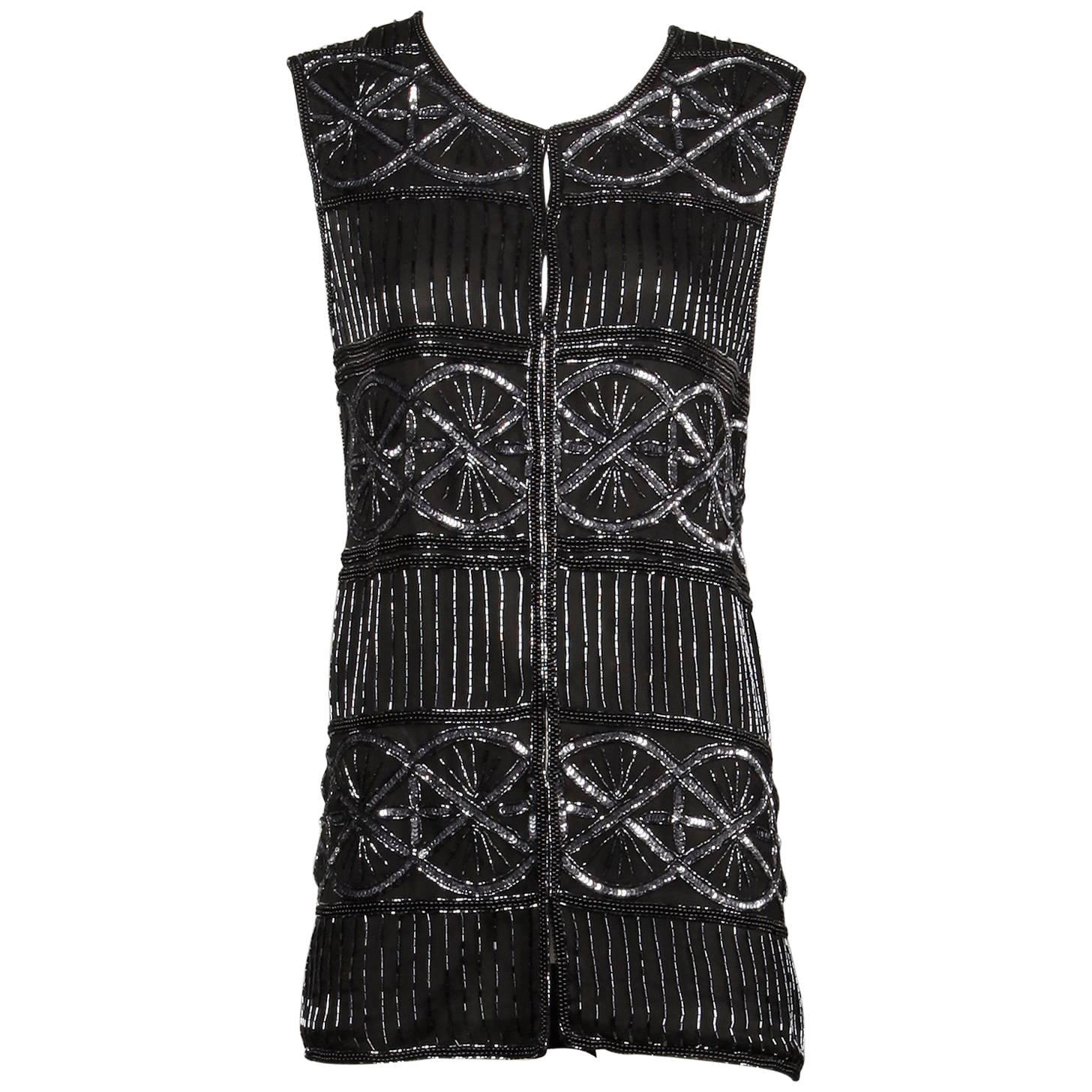 Mary Mcfadden Vintage Black Silk Metallic Beaded + Sequin Vest Jacket / Tank Top