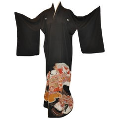 "Black Silk ""Multi Fans Among Heavenly Clouds"" Kimono"