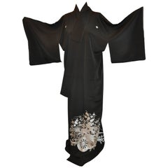 "Black with Silver Embroidered ""Wagon Filled With Floral"" Silk Kimono"
