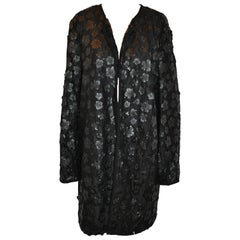 Karl Lagerfeld Detailed Black Floral & Lace Open Evening Jacket