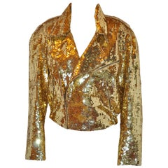 Iconic Lillie Rubin Golden Metallic Gold Sequin Zipper Motorcycle Jacket