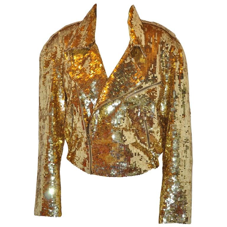 Iconic Lillie Rubin Golden Metallic Gold Sequin Zipper Motorcycle Jacket
