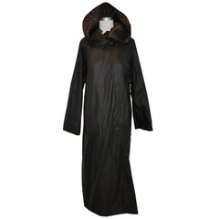 Floor-Length Reversible Black & Leopard Print Hooded Raincoat