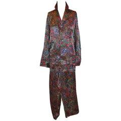 Christian Dior Men's Multi-Color Silk Palsey Pajamas Ensemble