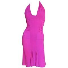 Versace Hot Pink Silk Buckle Waist Halter