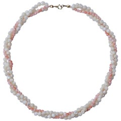 Twisted Triple Strand Coral and Mother of Pearl Bead Necklace