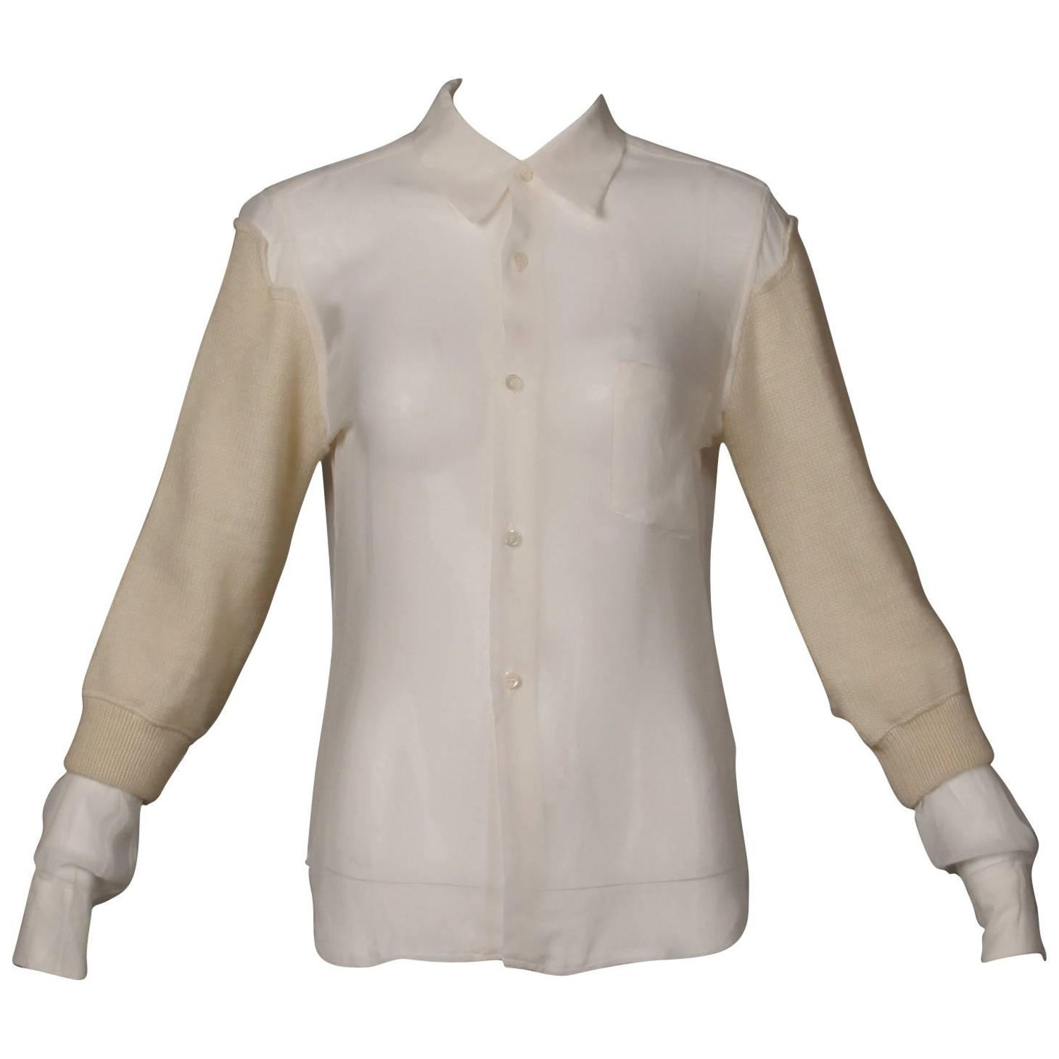 Comme Des Garcons White Button Up Blouse Top Shirt With Cream Wool