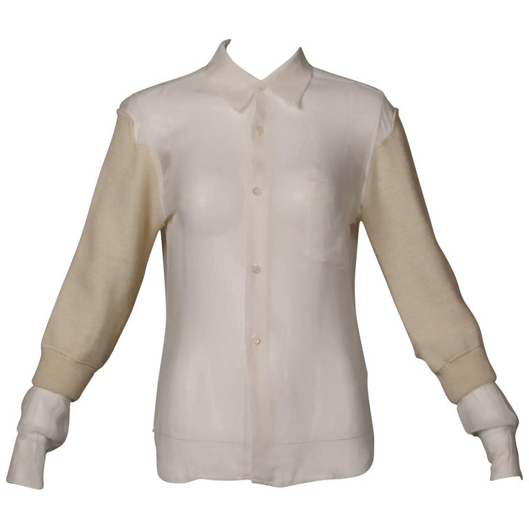 Comme des Garcons White Button Up Blouse Top/ Shirt with Cream Wool Knit Sleeves