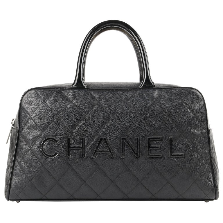 CHANEL Caviar Diamond Quilted & Patent Leather Boston Bowler Bag