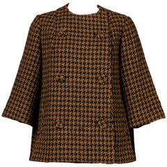 1960s Mr. Blackwell Custom Vintage Black + Brown Houndstooth Wool Jacket or Coat