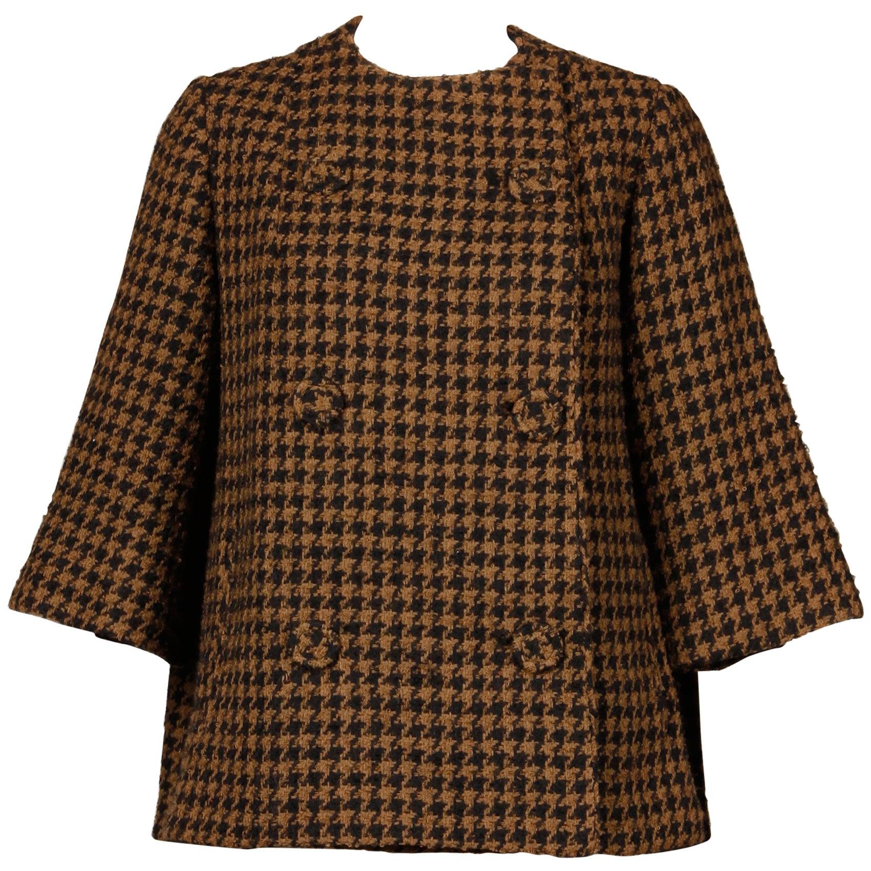 1960s Mr. Blackwell Custom Vintage Black + Brown Houndstooth Wool Jacket or Coat