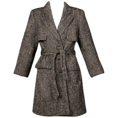 Valentino Vintage Black + White Heringbone Wool Coat with Sash Belt