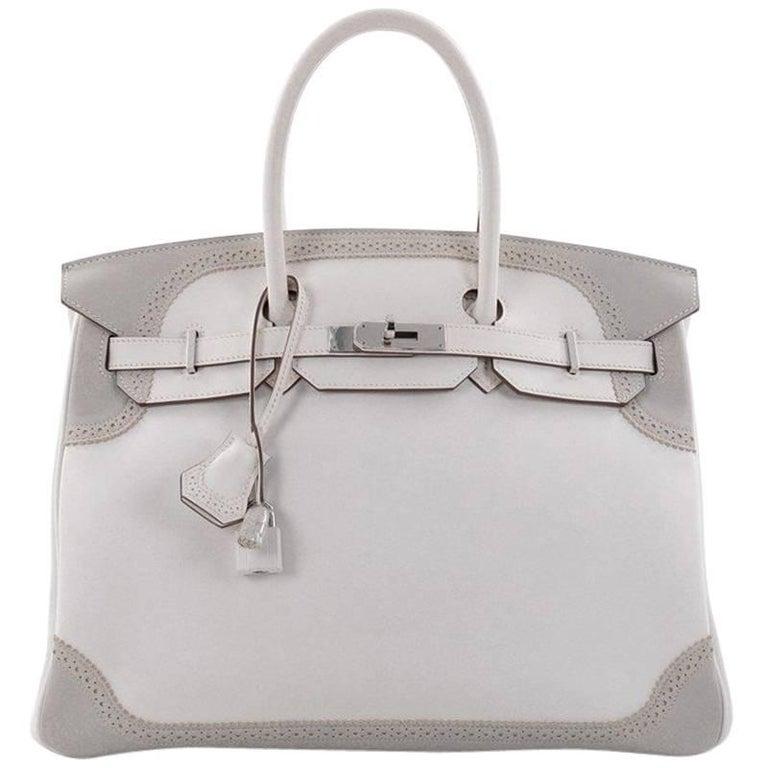 2d8a53098e Hermes Birkin Ghillies Handbag White and Gris Perle Swift with Palladium  Hardwar For Sale