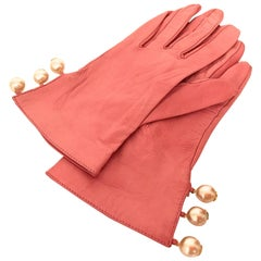 Chanel Leather Gloves with CC Logo Pearls