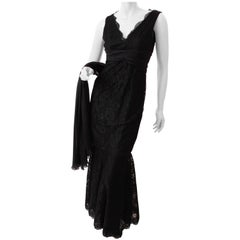 Pamella Roland Evening Gown Black Lace Silk Panels Mermaid Hem Sz 6