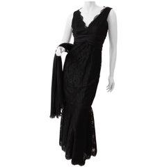 Pamella Roland Evening Gown Black Lace Silk Panels Mermaid Hem Sz 6